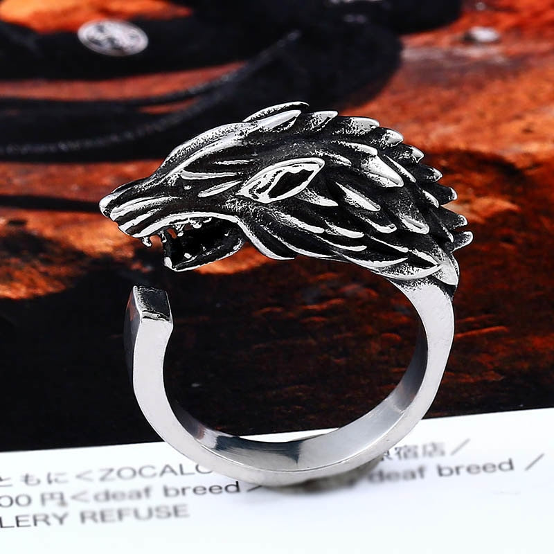 Viking - Ice Wolf Open Ring