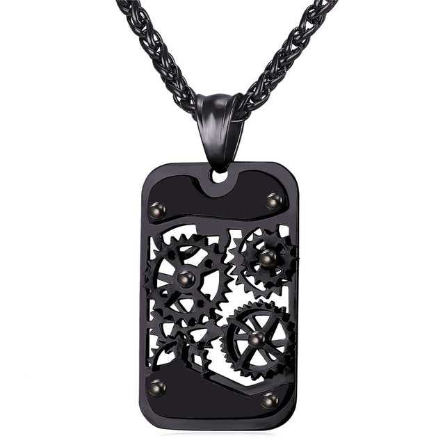 Mechanic - Steampunk Gear Rotatable Dogtag Necklace