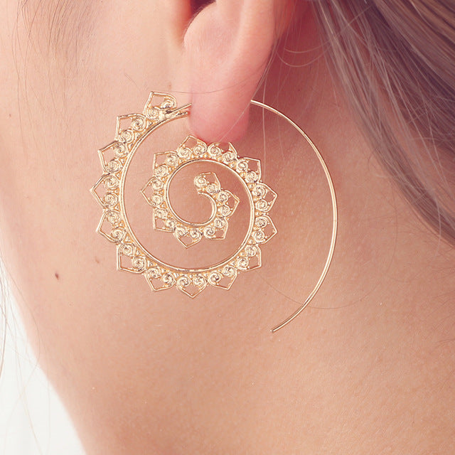 Trend - Docona Ethnic Round Spiral Earrings
