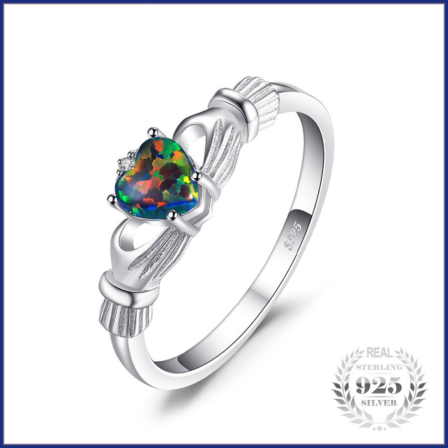 Trend - Irish claddagh rainbow Ring - 925 Sterling Silver Love Heart Jewelry