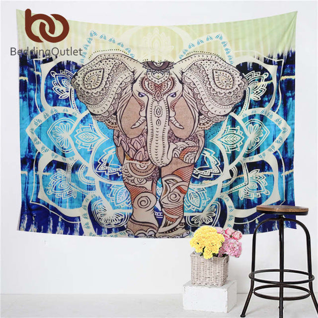 Trend - Ethnic Indian God Ganesha Wall Carpet - Colored Printed Decorative Mandala Tapestry Indian Wall Carpet