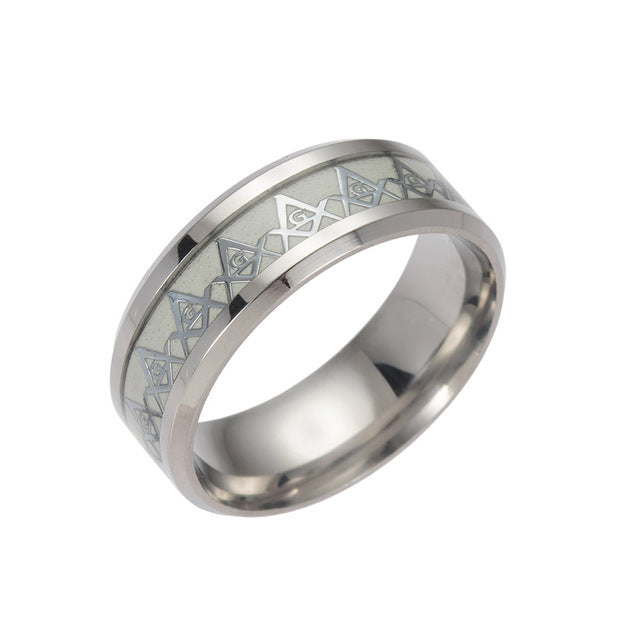 Freemason - Glow Ring -  Glow In The Dark Stainless Steel Men Ring Freemason