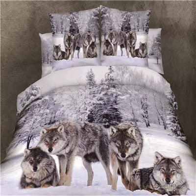 Viking - Wolf bedding set -  Medusa 3d wolf king/queen/twin size 3/4pcs bedding set and pillow