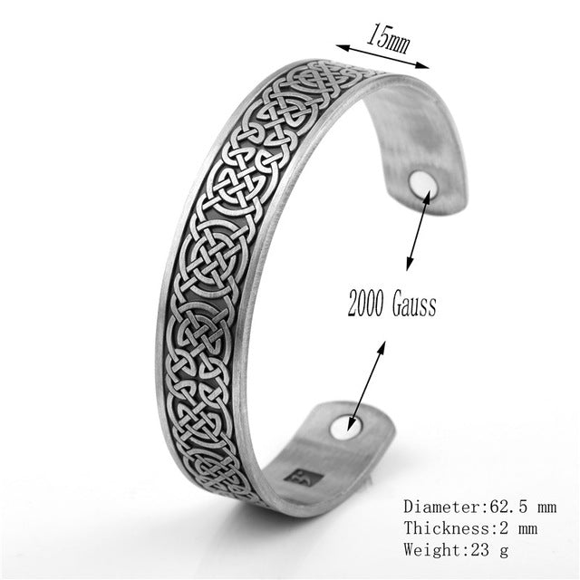 Viking - Cuff Bangles - Vintage Engrave Luck Celtic Knots Health Magnetic Cuff Bangles & Bracelets Jewelry