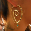 Trend - Docona Bohemia Round Spiral Earrings - Exaggerated Gold Silver Whirlpool Gear Earrings for Women Jewelry 4197