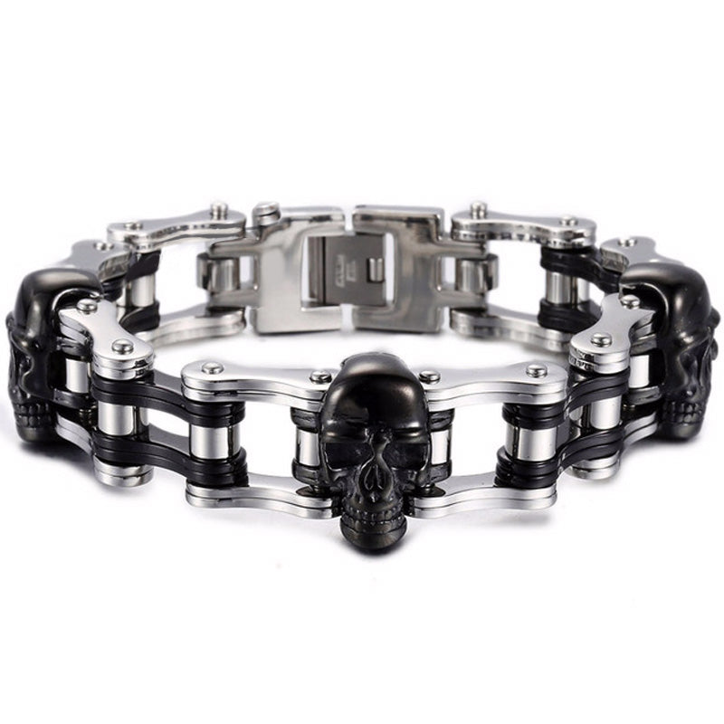 Mechanic - Stainless Steel Biker Wristband Skulls Bracelet