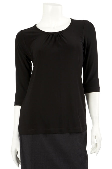 Ladies Gathered Front Tee with 3/4 Slv