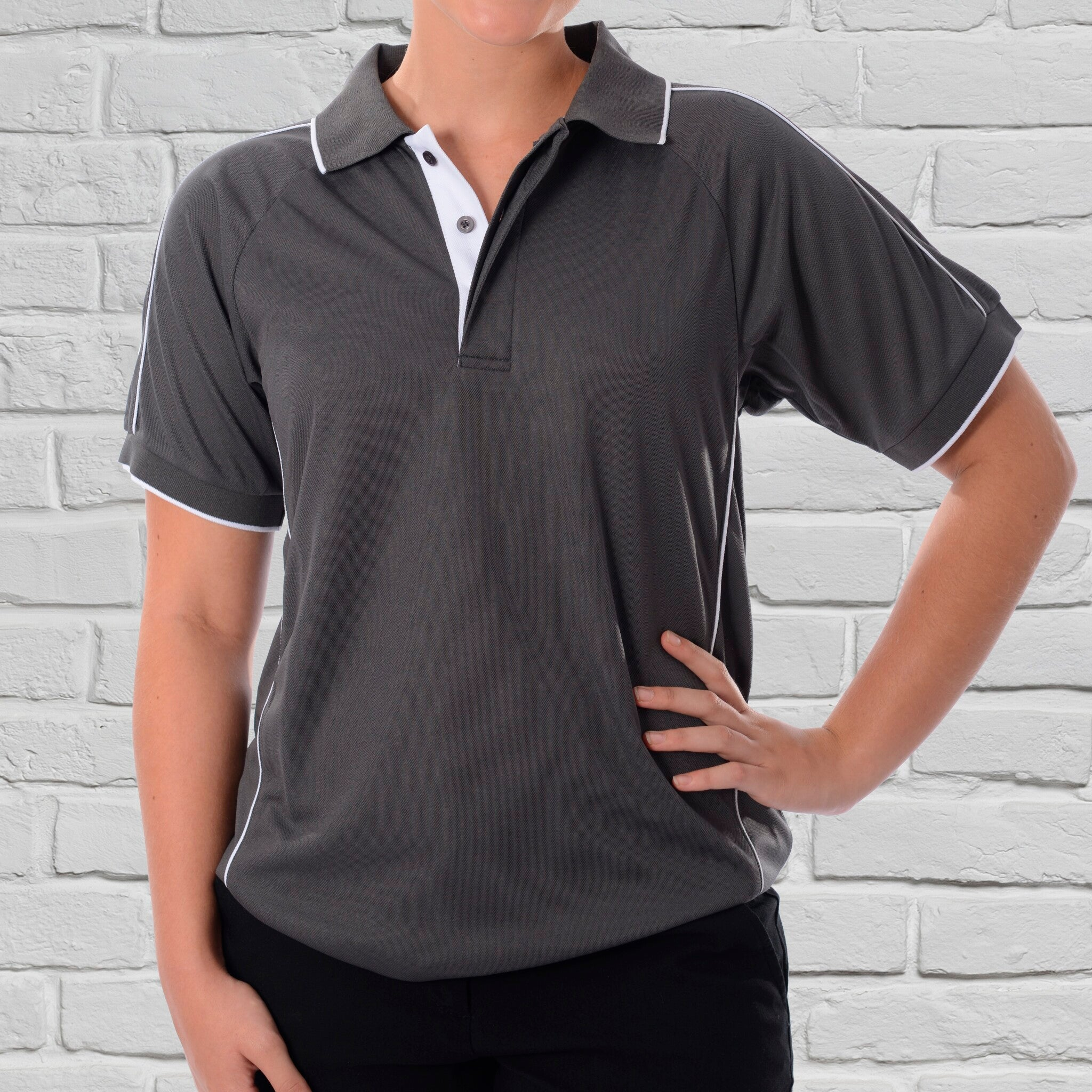 Ladies Charcoal/White Polo
