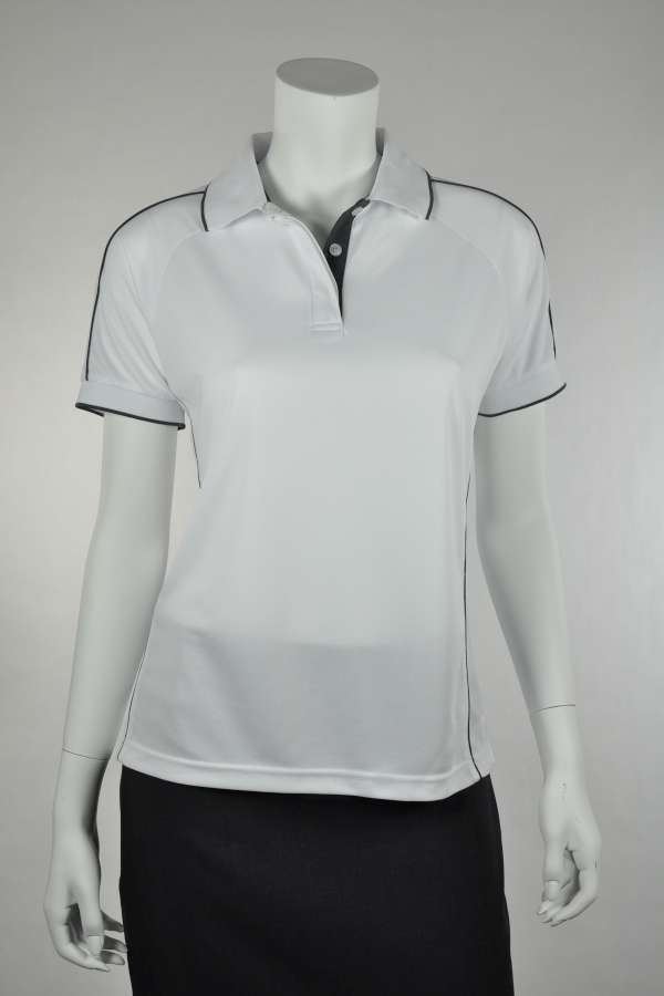 Ladies White/Charcoal Polo