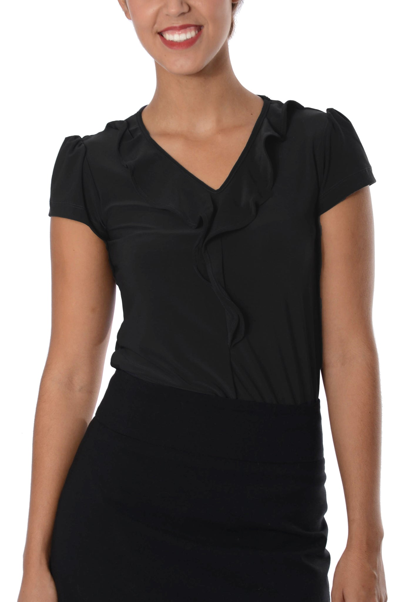 Ladies Black Ruffle Neck Top