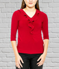 Ladies 3/4 Sleeve Ruffle Neck Top