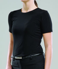 Ladies Short Sleeve Knit Top- Black