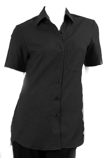 Ladies Short Sleeve Blouse with Pocket - Black