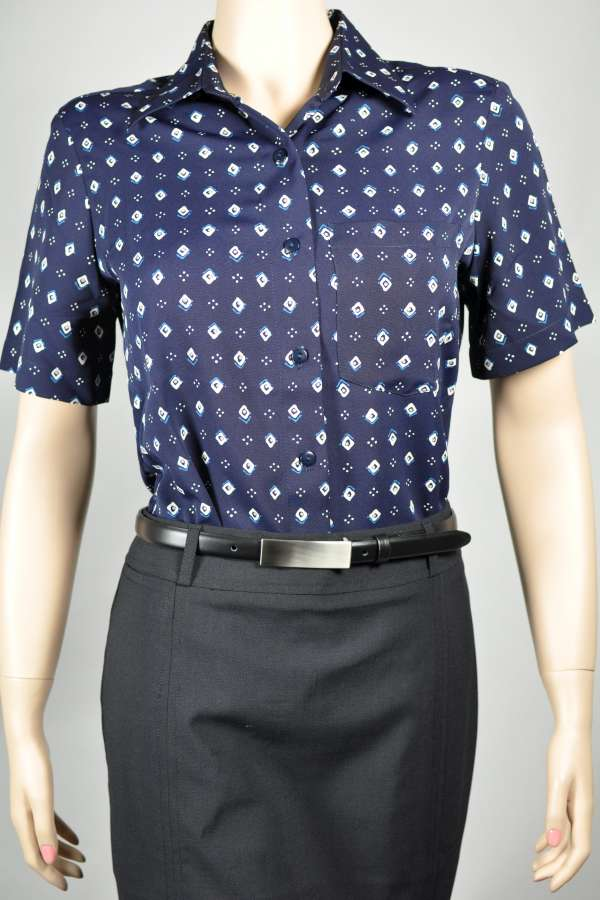 Ladies Short Sleeve Navy/Jade Diamond Print Blouse