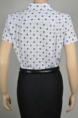 Ladies Short Sleeve White/Jade Diamond Print Blouse