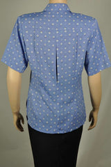 Ladies Short Sleeve Periwinkle/White Diamond Print Blouse