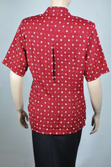 Ladies Short Sleeve Red/Navy Diamond Print Blouse