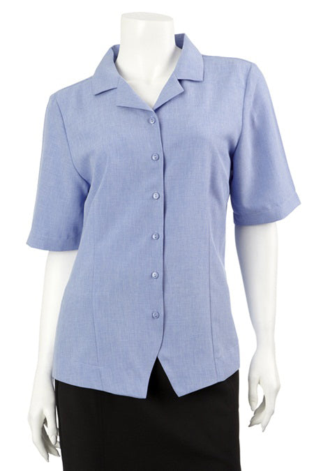 Short Sleeve Revere Collar Overshirt - Periwinkle