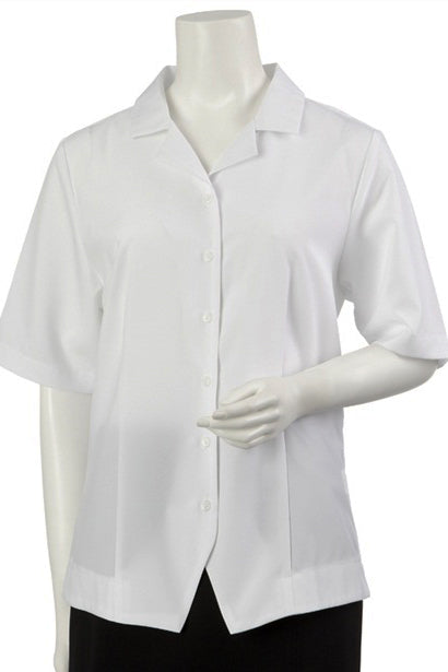 Short Sleeve Revere Collar Overshirt-White