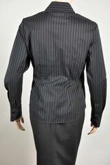 Ladies Long Sleeve, Black/White Stripe Blouse