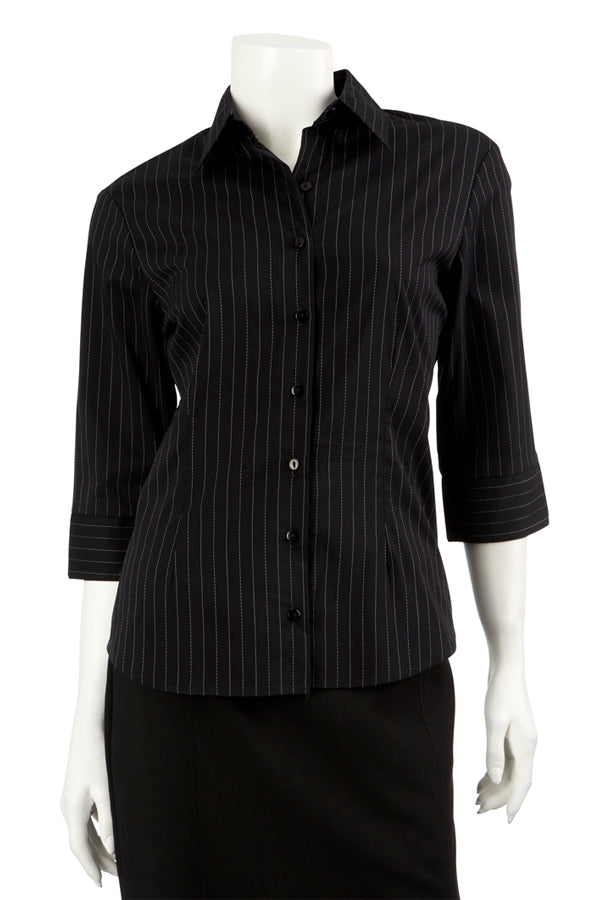 Ladies Black/Grey Striped Blouse 3/4 Sleeve