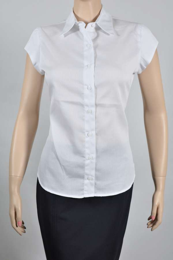 Ladies Cap Sleeve White Self Stripe Blouse