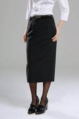 Ladies Longline Black Straight Skirt