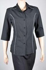 Ladies Black 3/4 Sleeve Blouse with Platinum Piping