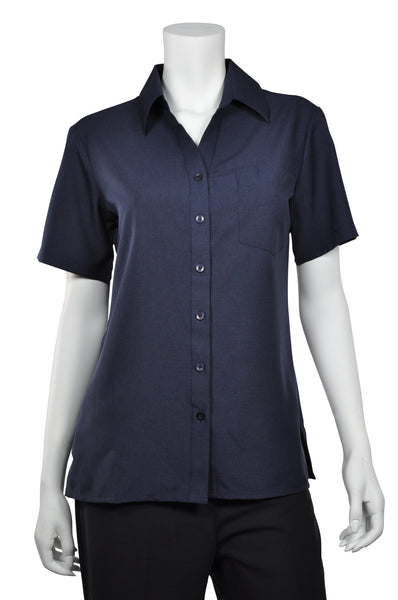 Ladies Short Sleeve Navy Blouse
