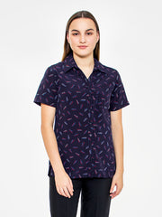 Flair Print Ladies Blouse - Navy