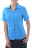 Ladies S/S Cotton Stretch Blouse - Hero Blue