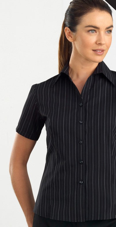 Ladies Short Sleeve Black/White Stripe Blouse