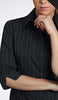 Ladies Black/White Stripe Blouse 3/4 Sleeve
