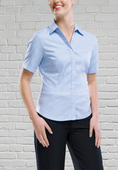 Short Sleeve Wrinkle Free Blouse - Pale Blue