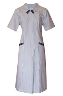 Short Sleeve Health Dress - Navy/White Stripe