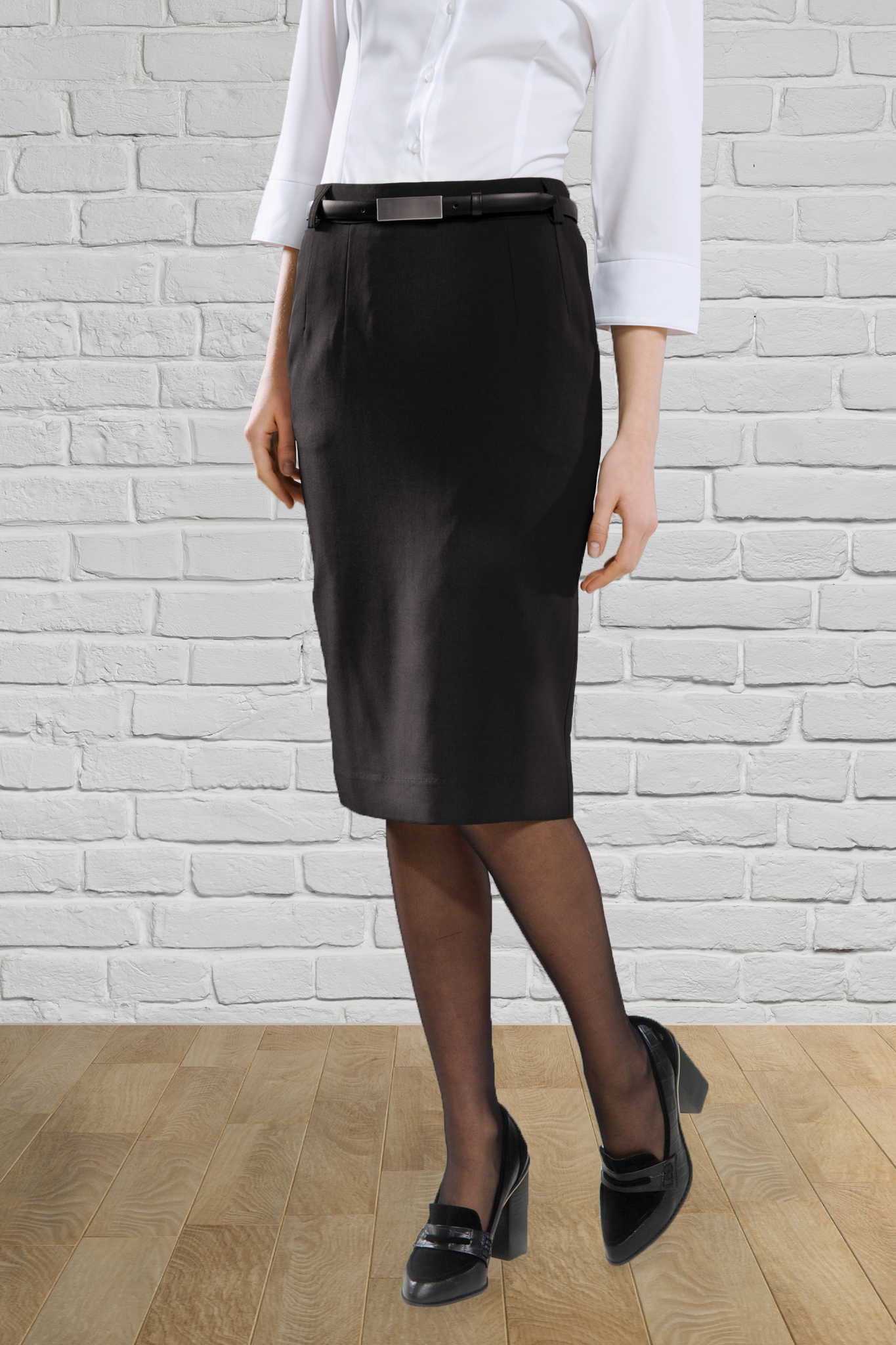 Ladies Black Straight Below Knee Skirt