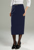Ladies Longline Straight Skirt - Polywool - Navy