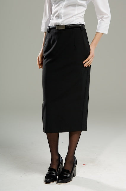 Ladies Longline Straight Skirt - Black