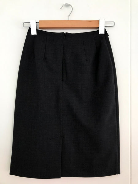 Above Knee Bandless Lined Skirt - Charcoal