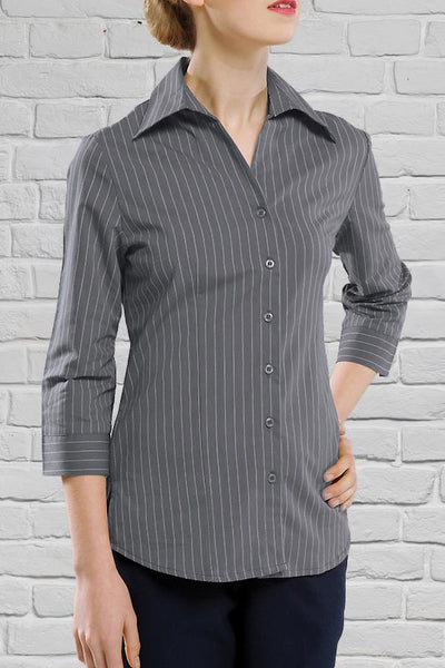 Charcoal Striped 3/4 Sleeve Blouse for Ladies