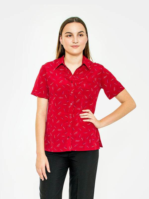 Flair Print Ladies Blouse - Red