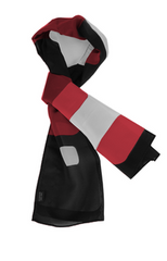 Cube Patterned Ladies Scarf - Black/Silver/Red
