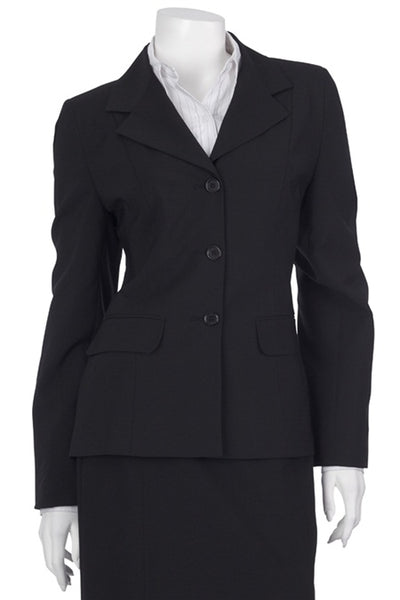 Mid Length 3 Button Jacket - Polywool - Black