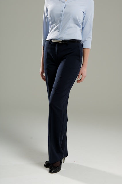Navy Ladies Low Waist Trouser
