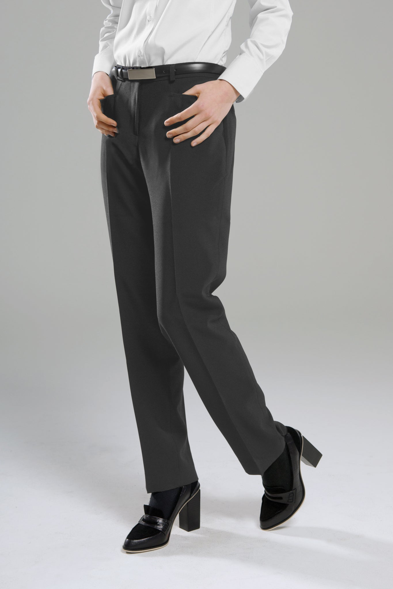 Polywool Z Stretch - Ladies Charcoal Front Pocket Pant