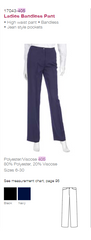 Ladies Navy Front Pocket Pant