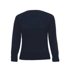 Ladies 100% Merino V Neck Pullover - Navy