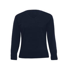Ladies Black Merino V Neck Pullover