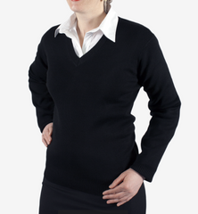 Ladies Charcoal Merino V Neck Pullover