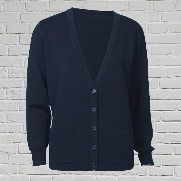 Ladies Navy Wool Cardigan with Pockets